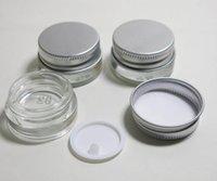 kosmetikglaskolben deckel geben verschiffen frei großhandel-Freies Verschiffen (DHL) - Qualitätsglascremetiegel 5g mit Aluminiumdeckel, kosmetischer Behälter des breiten Munds 5ML, Augencreme-Kosmetikverpackung