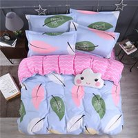Wholesale left machine resale online - Colorful Leaves Bedding Set Queen Size Lovely High End Blue Duvet Cover King Single Double Full Twin Soft Bed Cover with Pillowcase