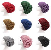 11 golf großhandel-große Blume Frau Turban moslemischer indischer Hut Helle silk erwachsene Kappen über 11 Farben wählen freies Verschiffen