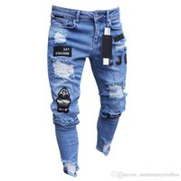 vaqueros drapeados al por mayor-Jeans de diseñador para hombres Agujeros rasgados Hiphop Jeans para ropa de hombre Insignia drapeada Pantalones de jean ajustados de diseñador