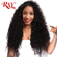 cabelo humano encaracolado tecer marrom venda por atacado-RXY Macio Feixes de Cabelo Encaracolado Malaio Não Transformados Feixes de Cabelo Humano Virgem Malaio Kinky Curly Hair Tecer Cor Natural Cor Marrom