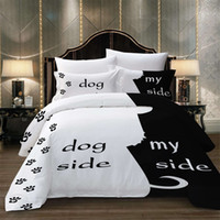 ingrosso letti cani bianchi neri-BEST.WENSD Il mio lato con biancheria da letto lato cane set lenzuola bianche nere Ispessimento ventilazione biancheria da letto consolatore 2019 set letto