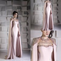 Wholesale sequined short dresses online - Detailed Mermaid Evening Dresses With Cape Bead Crystal Sequined Satin Formal Prom Dress Party wear Jewel Plus Size Arabic Dubai Wrap Gowns