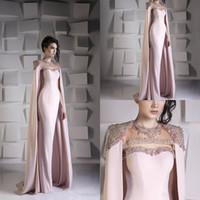ingrosso perline dettagliate-Dettagliata abiti da sera a sirena con perlina di cristallo di paillettes vestito da ballo in raso con paillettes Abiti da festa Jewel Plus Size Arabo Dubai Wrap Gowns