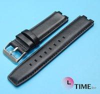 ingrosso pebble-Cinturino di ricambio in pelle GENUINE nera 16 * 22mm per orologio Pebble Smart Watch 2 Steel