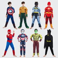 Wholesale union iron resale online - Muscle Clothes All Saints Day Children Cartoon Tight Fitting Pretend Avenger Union America Captain Iron Man Spiderman Muscl kl p1