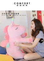 Wholesale white day beds for sale - The cute unicorn doll cuddles the sleeping lazy doll with a long pillow girl doll stuffed toy on the bed