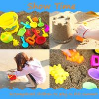 cubos de arena de playa al por mayor-ABS arena de agua juguetes para jugar en la playa set niños niños junto al mar pala de rastrillo kit de construcción Sea Horse moldes herramientas divertidas