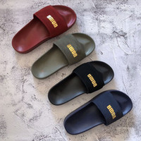 Wholesale straw sandal slippers resale online - 2019 Rihanna Leadcat Suede Slippers Designer Sandals Luxury Slide Summer Fashion Wide Flat Slippery Sandals Slipper Flip Flop size