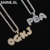 ingrosso collana della lettera dell'oro 14k-Collana con ciondolo a forma di lettera di bolla personalizzata Hip Hop Collana con ciondolo a forma di cuore in argento con zirconi micro-oro