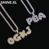 14k altın mektup kolye toptan satış-Hip Hop Özel Ad Kombinasyonu Kabarcık Mektup Kolye Kolye Mikro Kübik Zirkonya Altın Gümüş Renk Bakır Kolye Kolye