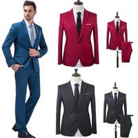 o partido usa roupas masculinas venda por atacado-Terno de Casamento dos homens Blazers Masculinos Slim Fit Ternos Para Homens Traje Do Negócio Formal Partido Formal de Uso Ternos (Jaqueta + Calças) # 264163