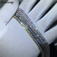 choucong 4 Colors Tennis bracelet Princess cut 5A Cubic Zirconia White Gold Filled Party Wedding bracelets for women Jewerly