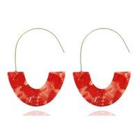 ohrring haken rot großhandel-Frauen arbeiten geometrische U-Form-Band-beiläufige Strohhaken-Ohrringe weiß, rot um