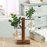 ingrosso bonsai terrarium-Terrarium Idroponic Plant Vasi Vintage Flower Pot Vaso trasparente Wooden Frame Glass Tavolo Piante Home Bonsai Decor
