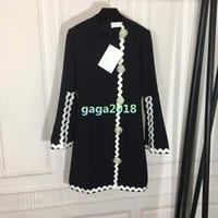 perle bluse frauen top großhandel-Neue Frauen Mädchen Langarm-Shirt Kleid Runaway Party High-End-Outwear-Kleid aus schwarzem Outfit mit Perlen-Details Pullover Top-Bluse