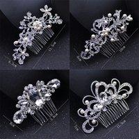 kristal düğün tarakları toptan satış-Inci Gelin Düğün Tiaras Klasik Kristal Gelin Takı Moda Gelin Saç Combs Sevimli Lady Parti Saç Aksesuarları TTA968
