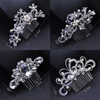 Wholesale ladies tiaras resale online - Pearl Bridal Wedding Tiaras Classic Crystal Bridal Jewelry Fashion Bride Hair Combs Cute Lady Party Hair Accessories TTA968