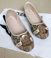 Wholesale bow metal buckle resale online - Women Shoes Flat Shoes Ladies letter boatshoes Bow Shoe Metal Buckle Round Toe Slip On Loafers Trendy Lazy Boat Shoes plus size gift D22008