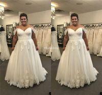 Wholesale weddings gown resale online - Gorgeous Lace Wedding Dresses Off Shoulder Appliques A Line Sweep Train Country Garden Bridal Gown Plus Size Castle Chapel Vestidoe De Noiva