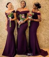 robes de mariée formées longtemps achat en gros de-2019 Regency De L'épaule Satin Longue Robes De Demoiselle D'honneur Froncé Balayage Train De Mariage Invité Demoiselle D'honneur Robes BC1288