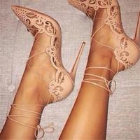 belles chaussures de mariage pour les femmes achat en gros de-2018 dames cheville chaussures à lacets femmes si belle Kate 12cm / 10cm en cuir verni noir talons nus Pigalle chaussures de mariage en dentelle femmes 43