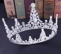 coroas redondas para noivas venda por atacado-Coroa de noiva retrô da noiva coroa de luxo Diamante da coroa barroca da noiva