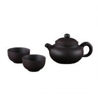 yixing kapları toptan satış-Yixing Mor Kil küçük Çay seti 1 Pot 2 Bardak Dahil, XiShi pot Çay töreni, Zisha Seramik Çömlekçilik çay fincanı, çin Kung Fu Çay Seti