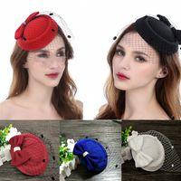 klasik büyüleyici şapkalar toptan satış-Vintage Kadınlar Beyaz Siyah Kırmızı Kentucky Derby Fascinator Şapkalar 10 Renkler Düğün Gelin Kilisesi Yay Ucuz Sinamany Şapka Gelin Aksesua ...