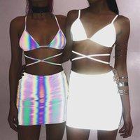 ingrosso abiti di progettazione d'argento-Abiti donna argento sexy estate 3M riflettente gonna reggiseni 2 pezzi abbigliamento set abiti da sera club hiphop