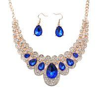 Wholesale rhinestone bib necklace sets for sale - Group buy 2Pcs SetWomen Jewelry Set Teardrop Rhinestone Statement Bib Necklace Earrings Bridal Jewelry Set Gift Woman s accesories
