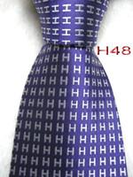cor da lavanda gravatas venda por atacado-Clássico 100% JACQUARD TECIDO FEITO À MÃO Dos Homens de Moda Branco Caráter / Lavanda / céu azul / Roxo / Vermelho / Multi cor Homens gravata de seda Gravata 6 cores