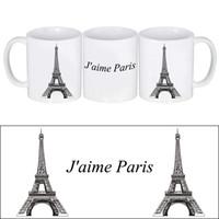 imprimir canecas venda por atacado-Cool Mug Copo de Café Cerâmico com Desenhos Animados da Torre Eiffele e Palavras Francesas AMO PARIS Impressão