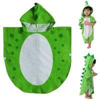 ingrosso accappatoi da bagno per bambini bianchi-I bambini tovagliolo di bagno Robe bambini Strandkorb Piscina Poncho dinosauro Pattern (verde + bianco 55 cm x 110 cm)