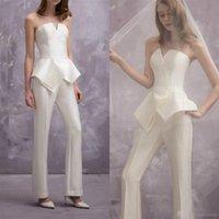 celebridade marfim vestidos de noite venda por atacado-Mulheres Macacões Marfim De Cetim Prom Dresses 2019 Elegante Strapless Pescoço Plissado Vestidos de Noite Formal Runway Calças Celebrity Dress Plus Size