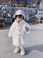 weiße mäntel für babys großhandel-Dicke Baumwolle gefütterte Jacke Pelzmantel für Baby Mädchen Winter Kleinkind Mode Baby Oberbekleidung weiße Farbe weiche warme nette Kinder Jacke