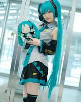 anime cosplay vocaloid kleider großhandel-Vollen Satz Vocaloid Cosplay Hatsune Miku Cosplay Kostüm Outfits Anime Cosplay Harajuku Kostüme (Kleid + Socking + Stulpen + Krawatte + Gürtel)