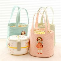 Wholesale portable insulated cooler bags online - Dolly Canvas Insulated Cooler Portable Stripe Aluminum Film Keep Warm Package Thermal Insulation Lunch Bag Ice Pack Hot Sale aqb1