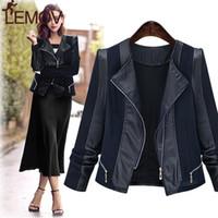 Women s Europe American Leather Jacket Große, dünne, weibliche, langärmelige Nähjacke Hot
