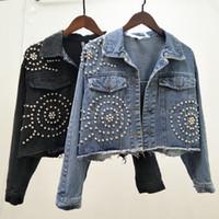 chaqueta jeans cuentas al por mayor-2019 Nueva Moda Abalorios Diseño Corto chaqueta de mezclilla de punto cruzado Mujeres remaches sueltos pantalones vaqueros abrigo