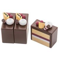 manyetik meyve toptan satış-Manyetik Dilimli Meyve Çikolatalı Kek Çay Partisi Gıda Ahşap Kesme Oyuncaklar Gelişim Pretend Oyun Oyun Playset