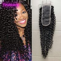 fermetures afro kinky achat en gros de-Cheveux vierges malaisiens 10A 2X6 fermeture à lacets Kinky bouclés Afro cheveux humains 2 par 6 fermeture à lacets partie centrale Kinky bouclés fermeture