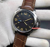 Wholesale fine leather watch straps resale online - Fine Men s Sports Watch Silver Stainless Steel Case Watch Black Face Wristwatch Leather Strap Automatic Mechanical Watches
