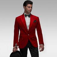 ingrosso vestiti sottili adatti gli abiti 46-Moda smoking velluto rosso smoking smoking picco groomsmen abito da sposa autunno inverno stile uomini formale vestito da promenade festa (giacca + pantaloni + cravatta) 876