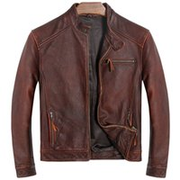 vintage кожаный мотоцикл куртка коричневый оптовых- DAMSON Vintage Brown Men Slim Fit Biker's Leather Jacket Plus Size XXXL Genuine Cowhide Spring Motorcycle Leather Coat