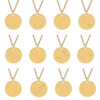 kristall-tierkreis anhänger halskette großhandel-12 Konstellation-Halsketten-Kristalltierkreis vorzügliche Halskette Anhänger Modeschmuck Will und Sandy Edelstahl Münze Halskette