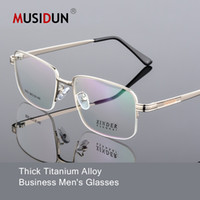 Wholesale titanium eyewear for men resale online - Full Rim Titanium Alloy Eyeglasses Man Ultra Light Weight Optical Myopia glasses Frames for male Eyewear Spectacles Q139