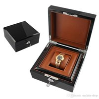 relojes sin logos al por mayor-Envío gratis marca reloj caja madera sin LOGO Metal Lock pintura lujo reloj caja de regalo con PU almohada