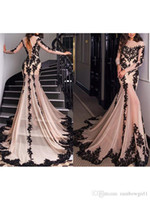Wholesale corset lace mermaid dress evening for sale - Group buy Latest Arrival Nude Mermaid Long Sleeve Evening Dresses Long Boat Neck Keyhole Corset Back Applique Prom Party Gowns