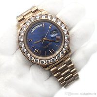 Wholesale big rose watches resale online - 43mm Big Diamonds Rose Gold President Day Date Sapphire Cystal Men Watches Automatic Mechanical Movement Male Wrist Watch